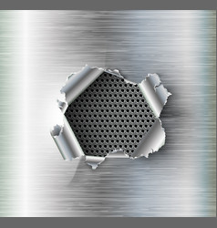 hole torn in ripped steel on metal background vector image vector image