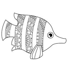 Mandala tropical fish icon vector