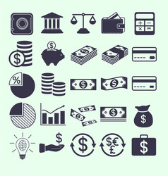 Money and banking related flat icons set vector