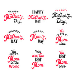 mothers day lettering calligraphy badges set vector image vector image