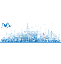 outline delhi skyline with blue buildings vector image vector image