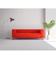 Red sofa with lamp and palm tree vector