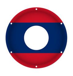 Round metallic flag of laos with screw holes vector