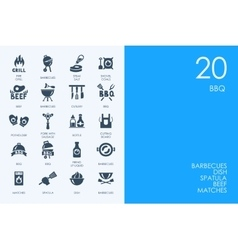 Set of BLUE HAMSTER Library BBQ icons vector image vector image
