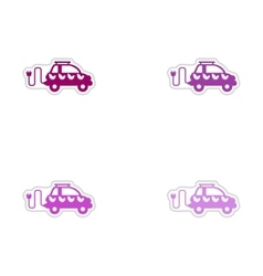 Set of paper stickers on white background eco car vector