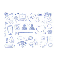social media network doodles internet vector image vector image