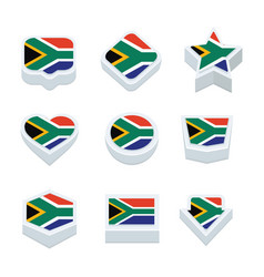 South africa flags icons and button set nine vector