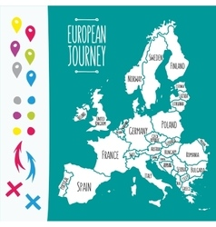 Vintage hand drawn europe travel map with pins vector