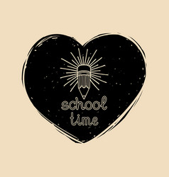 vintage school time badge in heart shape vector image