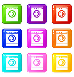 Washing machine set 9 vector