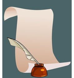 cartoon blank scroll paper with pen and ink vector image