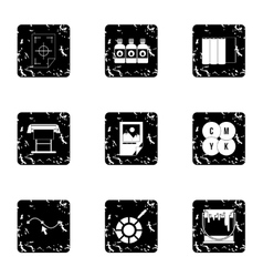 Printing in polygraphy icons set grunge style vector