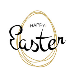 Happy easter lettering with scribble egg vector