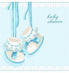Baby shower card with blue booties and lace vector