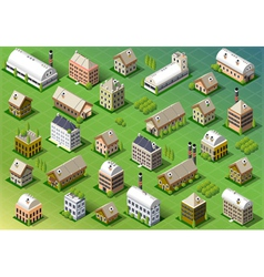 Set of Isometric Building in Spring vector image