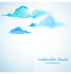 Watercolor clouds background with glass banner vector