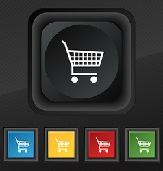 Shopping cart icon symbol set of five colorful vector