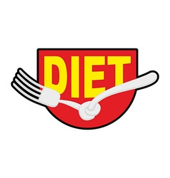 Diet logo sign emblem of fork with node patch stop vector