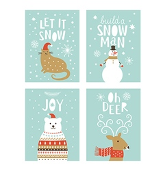 set of christms cards vector image