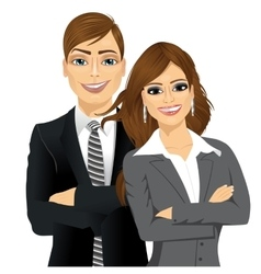 Business people standing with arms folded vector