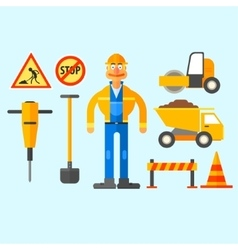 Road repair work vector