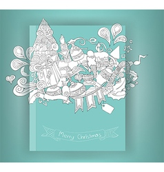 Christmas and doodles elements icon book vector