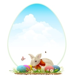 Easter bunny and colored eggs easter card vector