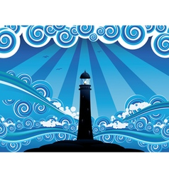 Lighthouse in the sea4 vector
