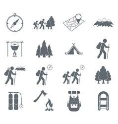 Set of hiking kinds icons vector