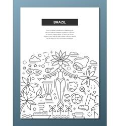 Brazil- line design brochure poster template a4 vector