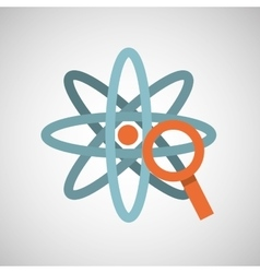 Atom magnifying glass search vector