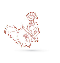 angry spartan warrior with sword and shield vector image