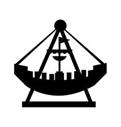 Attraction ship pirate fair icon vector