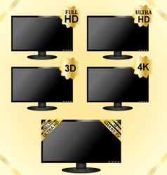 Black lcd tv icons vector