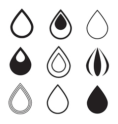 Black water drops icons set isolated on white vector