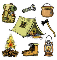 camping trip outdoor adventure hiking set of vector image