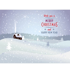 Christmas landscape with house vector image vector image