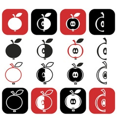 cut into pieces of apple vector image vector image