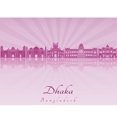Dhaka skyline in purple radiant orchid vector