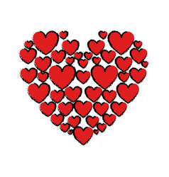 Drawing red hearts love vector