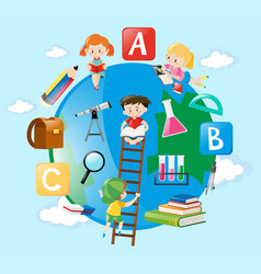 educational theme with kids on earth vector image