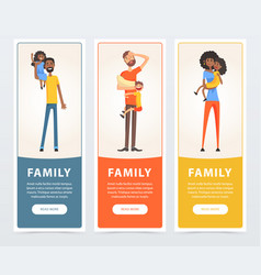 family banners set parents with their children vector image