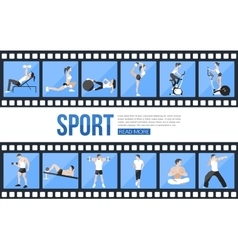 Film strips and training people icons set for vector image vector image