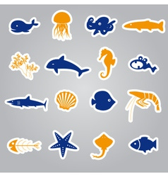 Fish and sea life stickers set eps10 vector