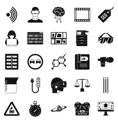 Gaining knowledge icons set simple style vector