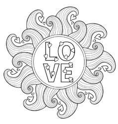 Hand drawn floral frame for adult coloring pages vector