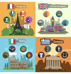 Historical landmarks flat composition poster vector