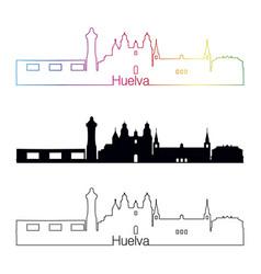 Huelva skyline linear style with rainbow vector