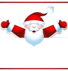 Joyous santa claus with blank banner vector