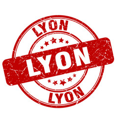 Lyon red grunge round vintage rubber stamp vector